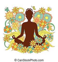 brun, yoga, lotus pose, fond, floral, silhouette, girl