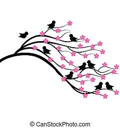brunch, arbre, oiseaux