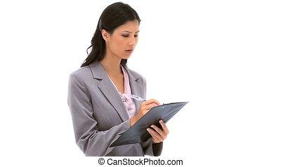 brunette, écriture, femme, presse-papiers