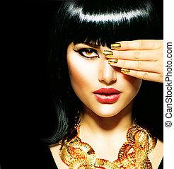 brunette, égyptien, beauté, woman., doré, accessoires