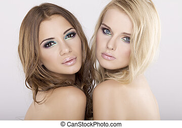 brunette, amis fille, -, deux, blonds