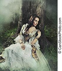brunette, beauté, démodé, forêt, magnifique, robe
