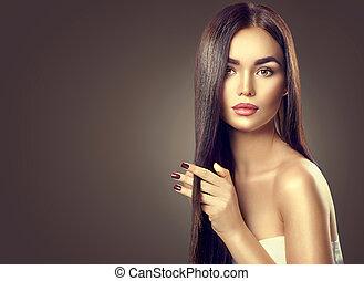 brunette, beauté, sain, longs cheveux, toucher, modèle, girl