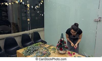 brunette, bureau, intérieur, arrangement, fleuriste, floral, table, marques