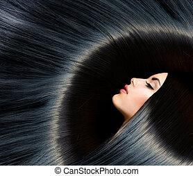 brunette, femme, beauté, noir, hair., sain, long