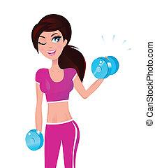 brunette, femme, elle, poids, crise, main, exercisme, beau