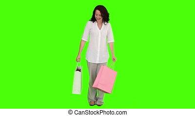 brunette, femme, vêtements, achat