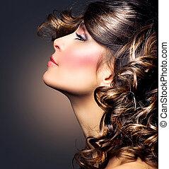 brunette, fille femme, beauté, portrait., hair., bouclé
