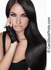 brunette, girl, girl., beauté, hair., modèle, woman., isolé, portrait, hairstyle., sain, arrière-plan., long, beau, blanc