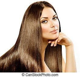 brunette, girl, hair., isolé, beau, long, directement, blanc