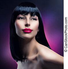brunette, girl, mode, portrait., modèle, hairstyle., beau