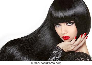 brunette, girl., noir, hair., long, hairstyle., sain, rouges, beau