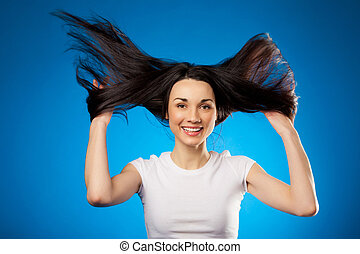 brunette, girl, tenue, cheveux haut, long, elle, rigolote, beau