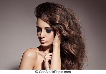 brunette, hair., woman., bouclé, long, beau