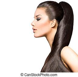 brunette, hairstyle., beauté, mode, girl, modèle, queue cheval