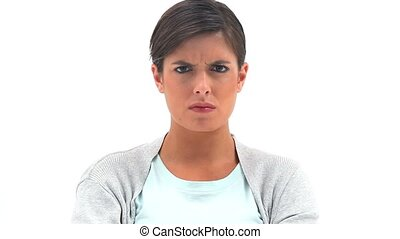 brunette, position femme, droit