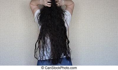 brunette, très, longs cheveux, girl, épais