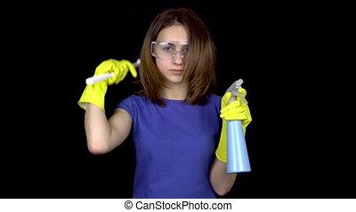 brush., girl, noir, spray., femme, toilet., nettoyage, cheveux, gants, fond, outils, brosse, peigner, lunettes, toilette, elle, tient, jeune, sécurité