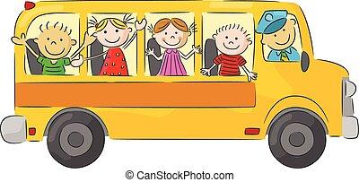 bu, école, heureux, enfants, dessin animé