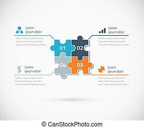 bu, puzzle, infographic, options, morceau