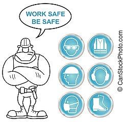 bu, sécurité, santé, cyan, icônes