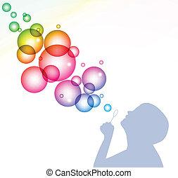bubbles., vecteur, fond, souffler, enfant