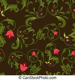 buds., fond foncé, seamless, floral, fleur, rouges