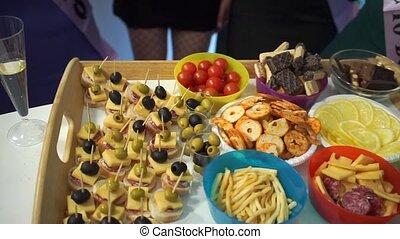 buffet, là, lot, table, nourriture, fête