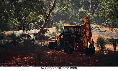buisson, tracteur, excavateur, forêt