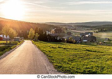 bukovec, coucher soleil, montagne, jizera, village, république tchèque, jizerka, time., vue, montagnes