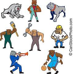 bulldog-mascot-cartoon-set