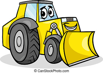 bulldozer, caractère, dessin animé, illustration