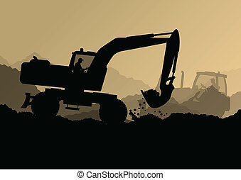 bulldozer, industriel, creuser, excavateur, ouvriers, site, illustration, tracteurs, vecteur, fond, construction, chargeurs