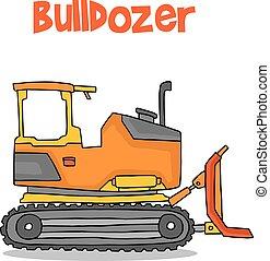 bulldozer, transport, dessin animé, collection, stockage