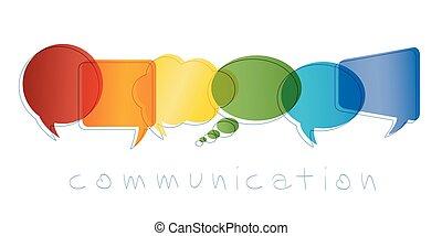 bulle, arc-en-ciel, marketing., réseau, contacts, communication, concept., communication., isolé, chatting., community., vecteur, parole, colors., ligne, texte, amis