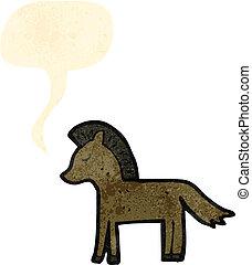 bulle, cheval, parole, dessin animé