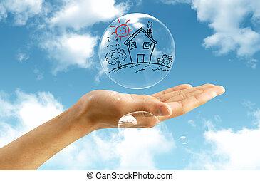 bulle, ciel, fond, immobilier