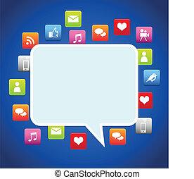bulle, dialogue, social, média