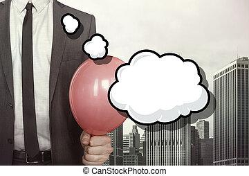bulle discours, vide, homme affaires