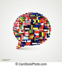 bulle, parole, drapeaux, formulaire, mondiale