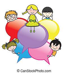 bulles, dialogue, enfants