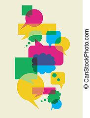 bulles, interaction, parole, social