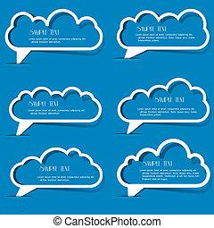 bulles, papier, nuages, contour, parole