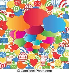 bulles, parole, réseau, social