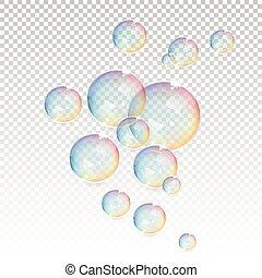 bulles, transparent, fond