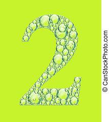bulles, vert, deux