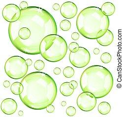 bulles, vert, transparent