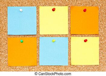 bulletin, notes, six, collant, planche, vide, bouchon