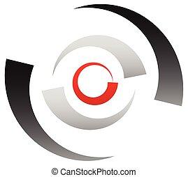 bullseye, cible, segmenté, signe., concentrique, symbole., icône, point, cercles, centre, réticule, indiquer avec précision, rouges