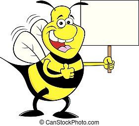 bumble, donner, signe., haut, abeille, quoique, pouces, tenue, dessin animé, heureux